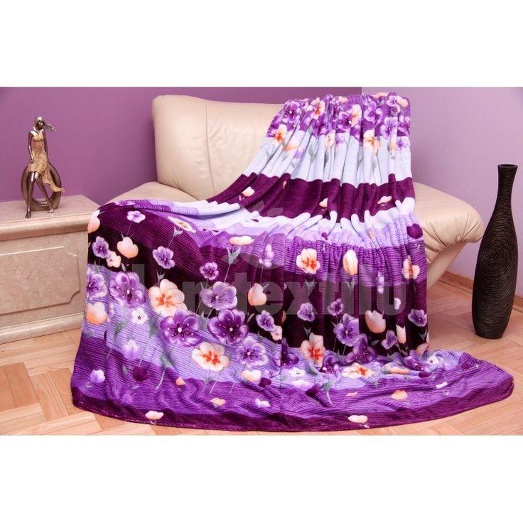 Moderná bielo - fialová deka s kvetinovým vzorom
