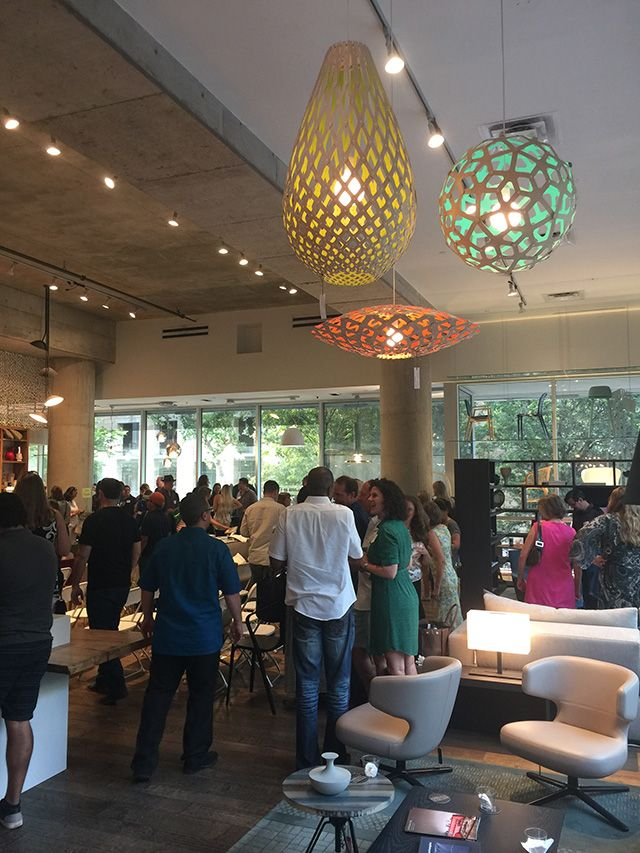 Terrific Open Houzz event in Austin, TX at Urbanspace Interiors.  David Trubridge lighting fixtures adding to the decor of the event.