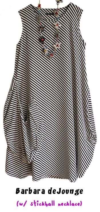 Barbara deJounge's...great black and white diagonal striped dress...a wonderfully floaty, dramatic dress.