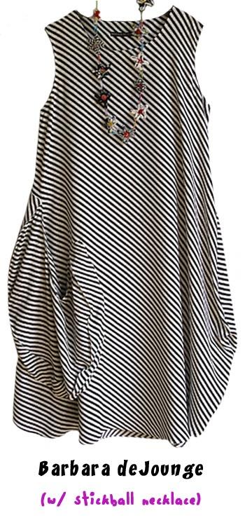 Barbara deJounge's...great black and white diagonal striped dress...a wonderfully floaty, dramatic dress.
