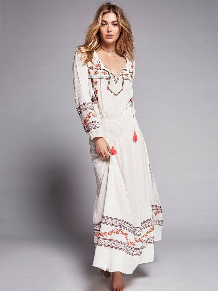 c3d83c72135 Embroidered Boho Maxi Dress