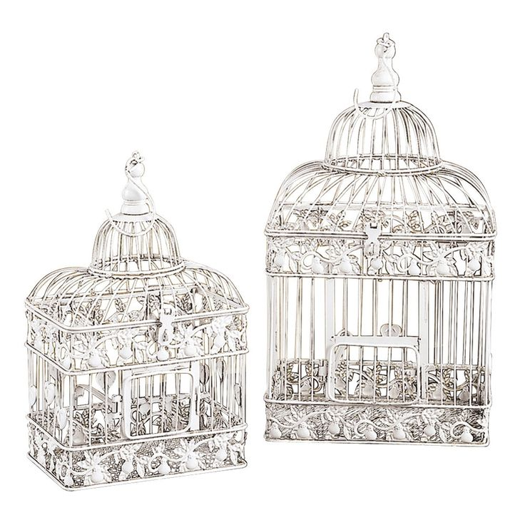 Set of 2 Birdcages: Metals Birdcages I, Rustic Birdcages, Birdcages Repin By Pinterest, Wash Birdcages Repin, Whitewash Birdcages, Birdcages Ornaments, Birdcages Birds Feeders