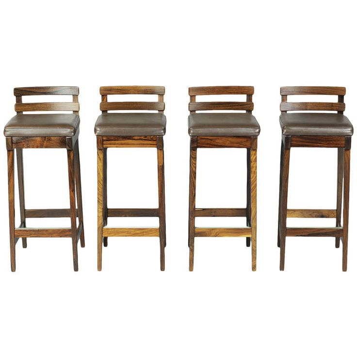 Danish Counter Seat: Danish Rosewood Bar Stools With Leather Seats