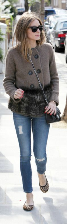 Olivia Palermo: Sweater – Agnona  Purse – Chanel  Jeans – AG Adriano Goldschmied  Sunglasses – Westside Leaning  Shoes – Butterfly Twists