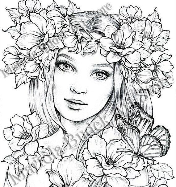 Lady Spring Mariola Budek Premium Coloring Page Fairy