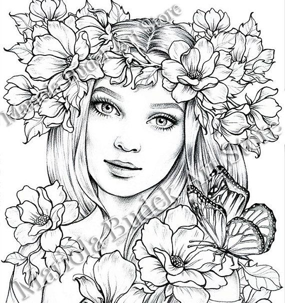Lady Spring Mariola Budek Premium Coloring Page Fairy