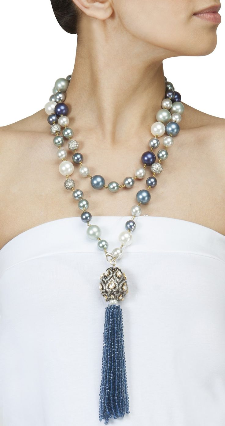 ROHITA AND DEEPA Long pearl necklace with tassel