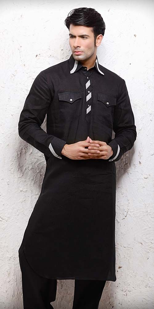 Kurta Pyjama by  http://www.bharatplaza.com/stunning-black-kurta-pyjama.html