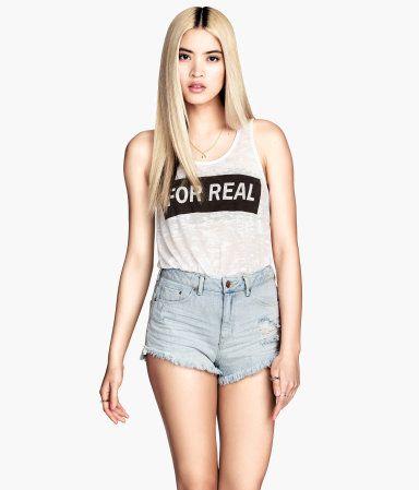 @hm Distressed Denim Shorts ($25)