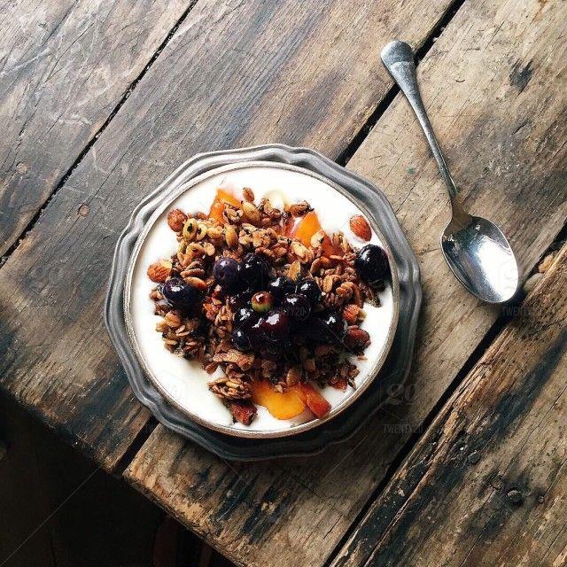 #MorningBreakfast  #food, #healthyeating, #wood, #rustic, #spoon, #breakfast, #healthy, #yogurt, #cereals, #perfection, #muesli