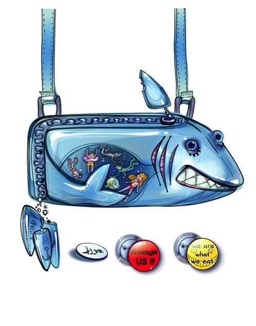 Handbag - shark and people from the beach