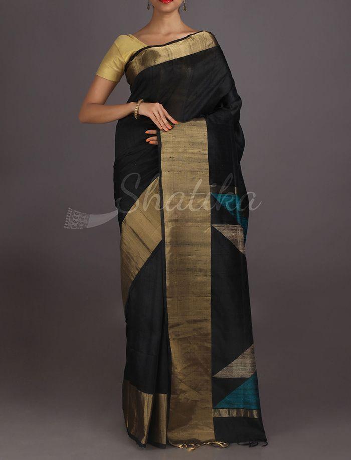 Neha Bold Black Gold Border #DupionSilkSaree