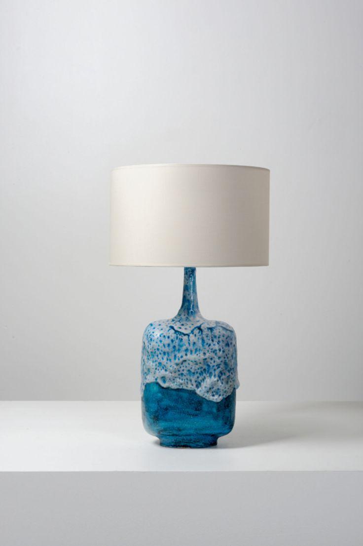 Blue ceramic table lamp - Piasa