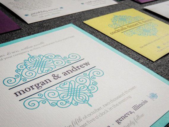 Beach Wedding Invitations, Destination Wedding Invitaitons, Purple, Blue and Lime Green, European Scroll Design, by Julie Hanan Design, on #etsy