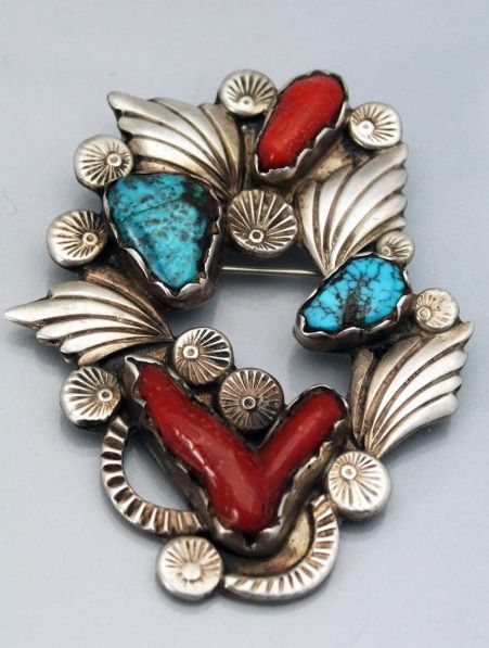 Vintage Native American Zuni Turquoise Coral Silver Pin. |  Dan Simplico.  Mid 1900s.