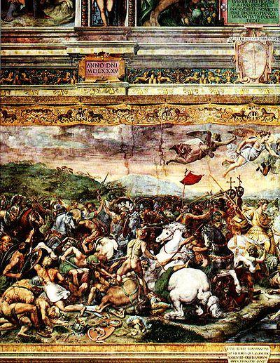 312 d.C - Batalla del Puente Milvio -  enfrentamiento entre los ejércitos de los emperadores Constantino I y Majencio. La victoria del primero derivó en el fin de la tetrarquía y lo llevó a convertirse en la máxima autoridad de los territorios occidentales del Imperio, mientras su cuñado Licinio reinaba en las provincias orientales.