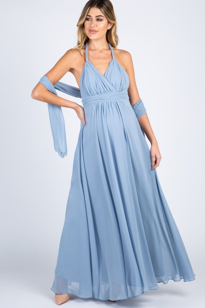 7f158d06174ab Blue Chiffon Halter Tie Back Maternity Evening Gown in 2019   Katie ...