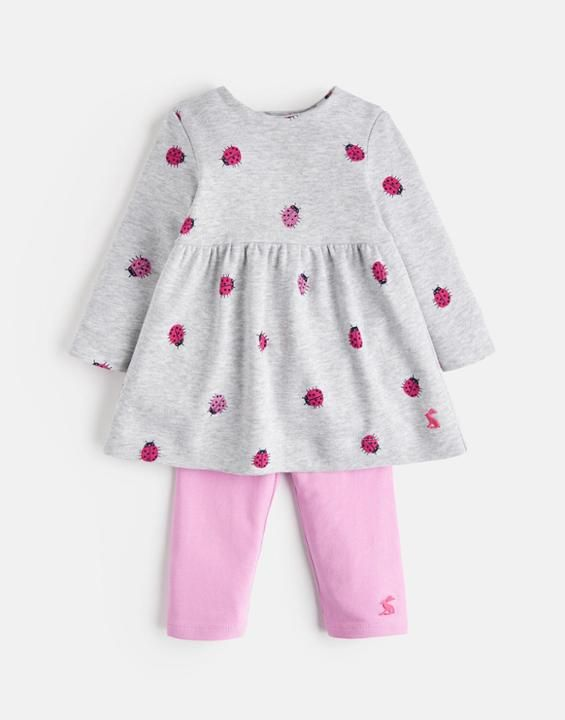 b3c0b0b1e Joules UK Christina Baby Girls Dress And Legging Set Grey Marl Ladybird