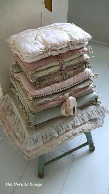 All-stacked-up and accented with a pale, silky bow! ~ throws and what-nots (linen)