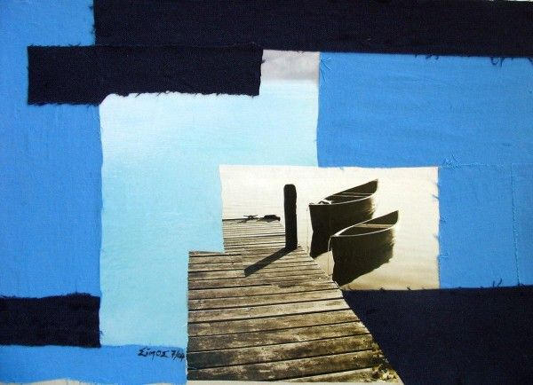 """K I Simos - """"2 boats """" - Paper and fabric on cardboard"""