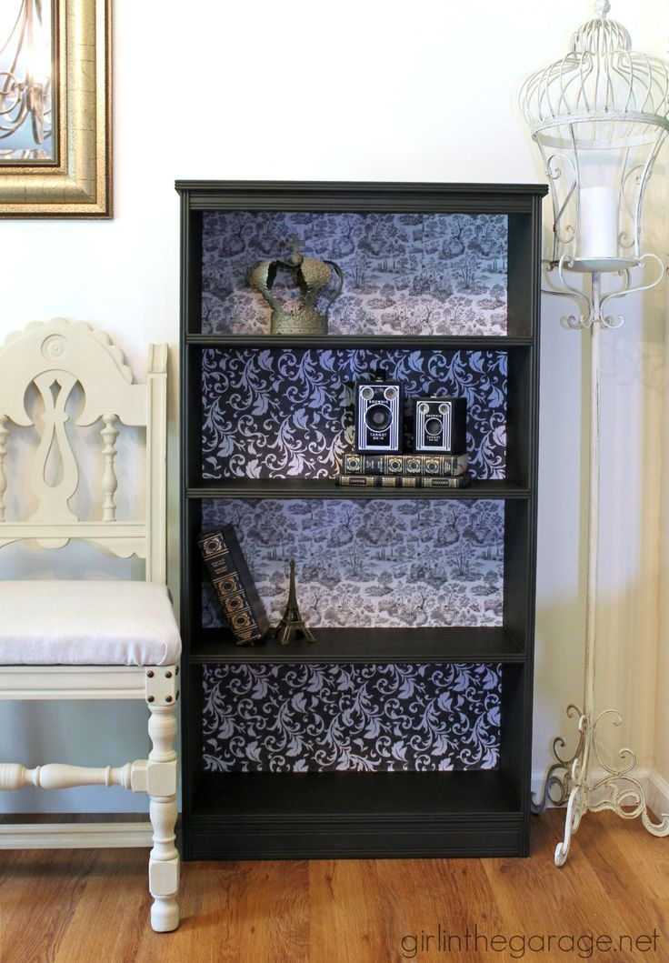 Retro Girl Wallpaper Decoupage Bookcase Themed Furniture Makeover Decoupage