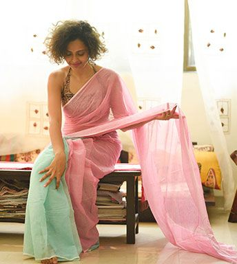 Teal and Pink Cotton Saree by Suta