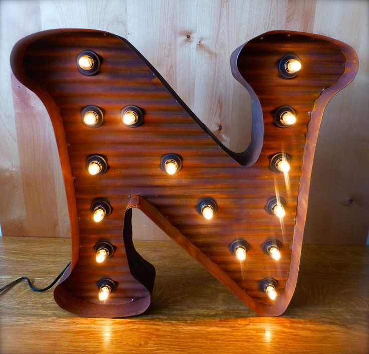 "LARGE VINTAGE STYLE LIGHT UP MARQUEE LETTER N, 24"" TALL industrial rustic sign"