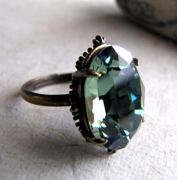 Victorian Gothic Ring Dark Seas Swarovski Crystal by AshleySpatula