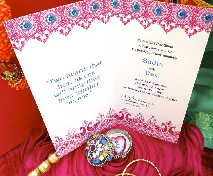 Fuschia's Vintage Jewels of Jaipur bespoke Asian wedding invitations are featured in the Autumn issue of Asian Bride Magazine.  This is the inside of one of our stunning asian wedding invitations.  All our personalised and available in colours to match your wedding theme.  Prices from £2.99 by www.fuschiadesigns.co.uk.