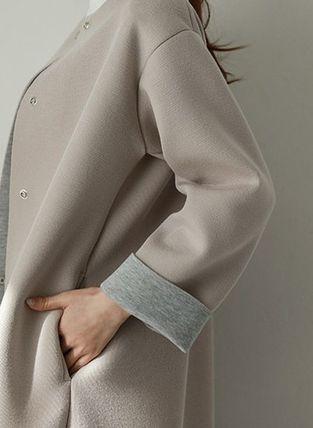 コート ◆韓国◆3色♪ノーカラー配色ネオプレンAラインコート(8)