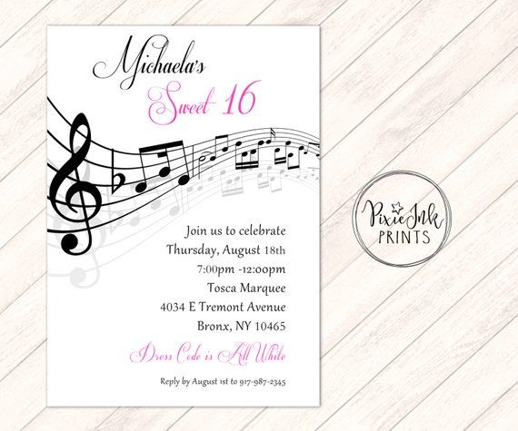 Music Notes Invitation, Musical Party, Sheet Music