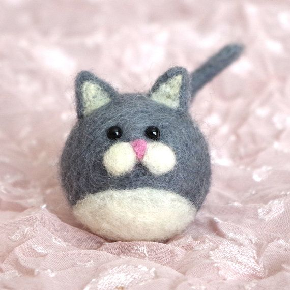 Needle Felted Grey Alpaca and Wool Fat Ball Cat by totallytimmy