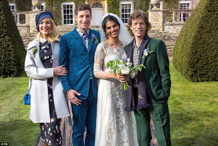 James Jagger and his wife Anoushka Sharma (centre) with Jerry Hall (left) and Mick Jagger (right) at their wedding celebration at Cornwell Manor in Oxfordshire
