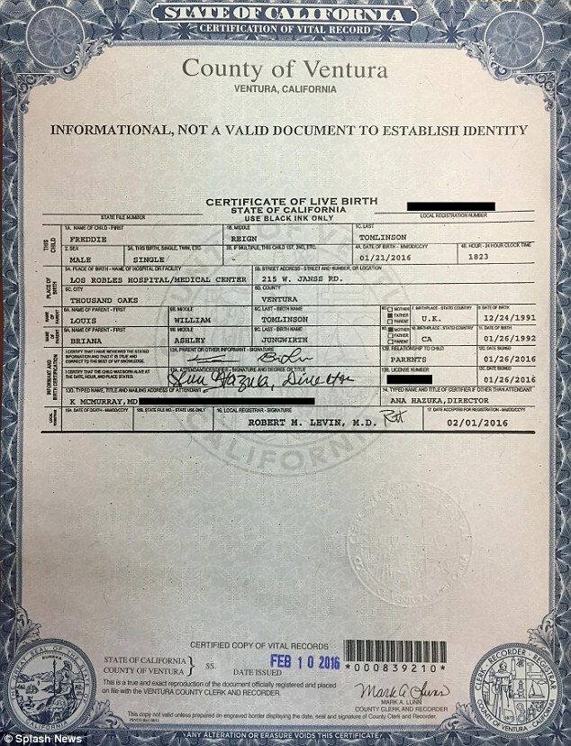 FIRST LOOK: A copy of the birth certificate for Louis Tomlinson's son Freddie Reign has been released