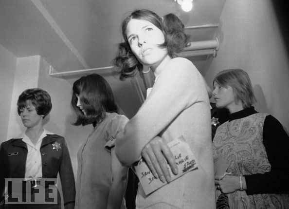 Some of Manson's female followers are arraigned in 1969. Susan Denise Atkins (left), 21, and Linda Kasabian (right), 20, were charged with killing actress Sharon Tate and six others. Leslie Van Houten (foreground), 19, was accused in the deaths of the LaBiancas the night after Tate was slaughtered.