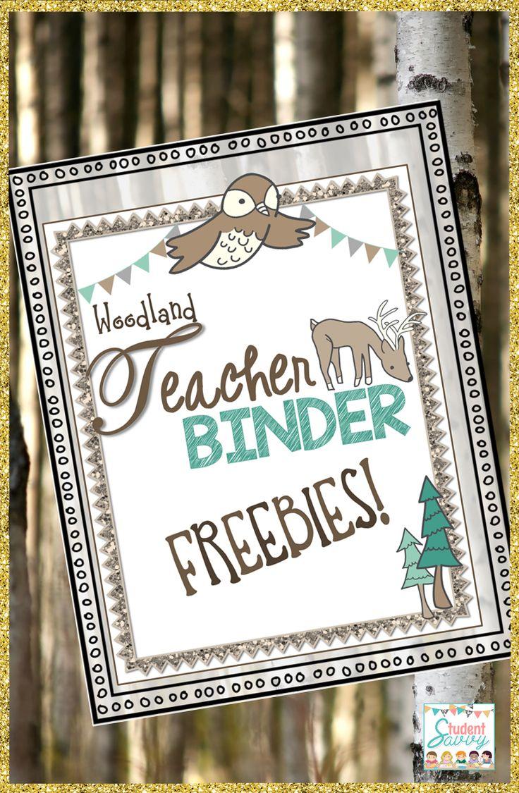 Start building your teacher binder! Free Woodland-themed binder resources!