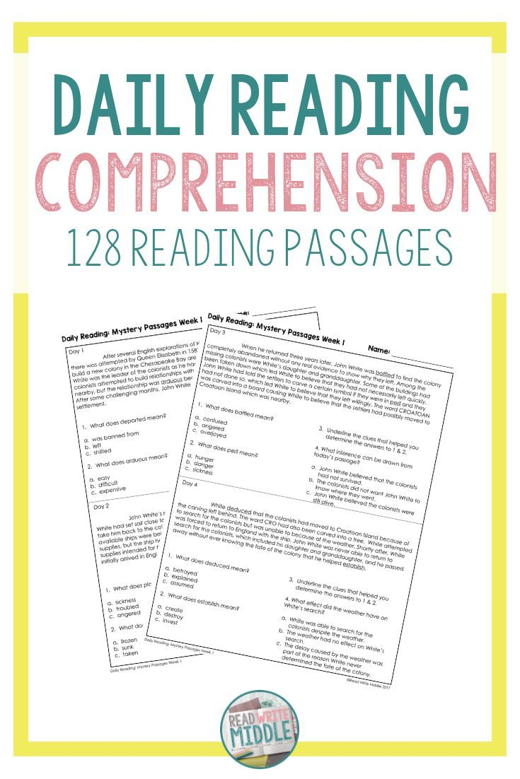 - Middle School Reading Comprehension Passages & Questions Distance