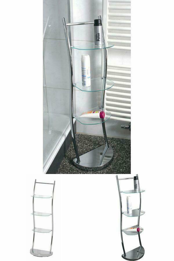 Modern Glass Bathroom Shelf Chrome Frame 3 Tier Storage Slim Free