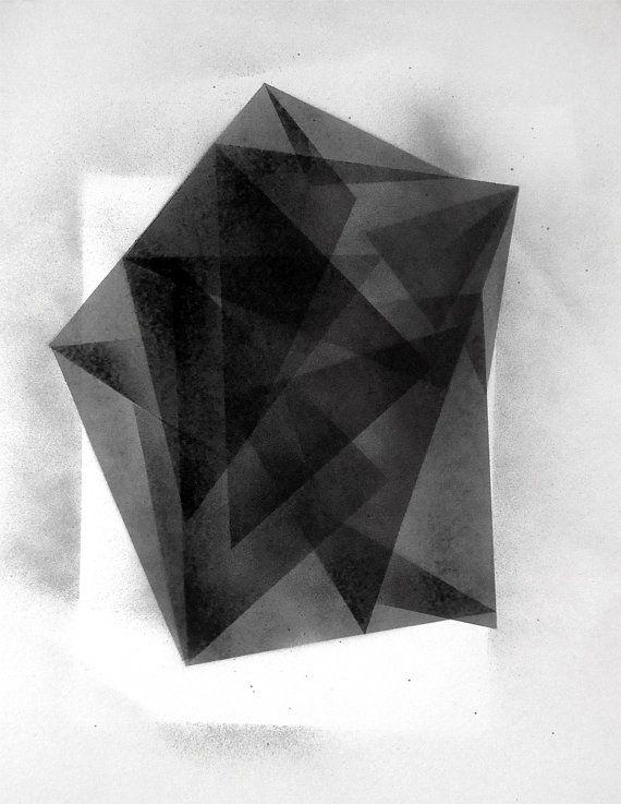 Nathaniel Gibson: Original Geometric Fine art Black And White Painting