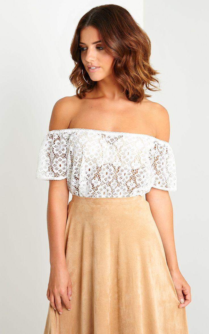 Saffron Cream Crochet Bardot Top - Tops - PrettylittleThing | PrettyLittleThing.com