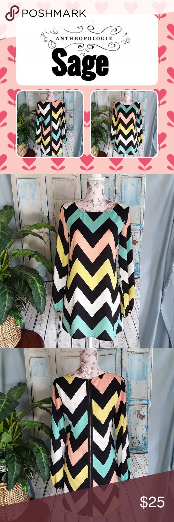 "Anthropology Sage Chevron Print Dress Anthropology Sage Chevron Print Sleeves Zippered Dress Womens Size Small  Chevron print. Back zipper.  3/4 sleeves.  Loose fitting.  Measurements:  Chest: 36"" Length: 31"" Excellent condition with no flaws. Please look at all pictures for condition. Anthropology Dresses Midi"