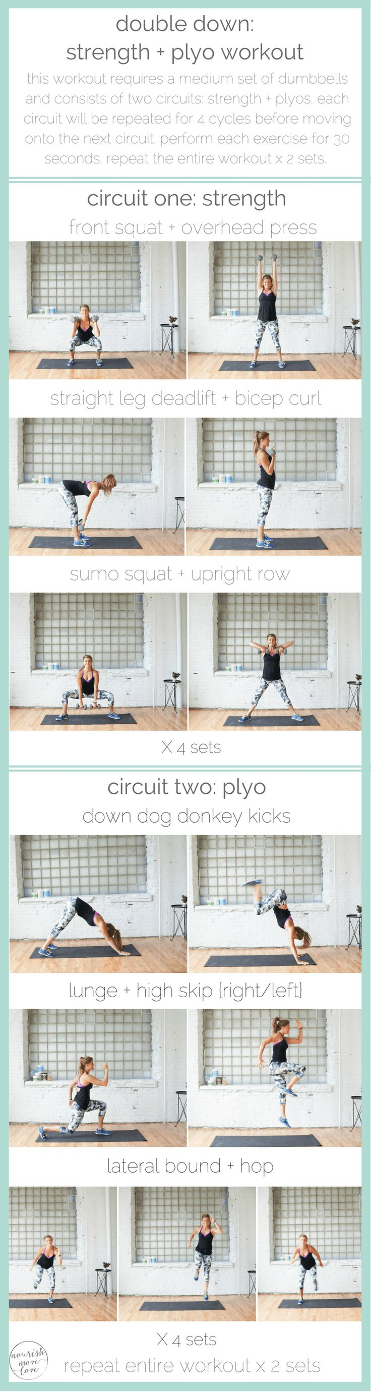 double down: strength + plyo workout, total body workout, 30 minute challenge, upper body + lower body workout | www.nourishmovelove.com