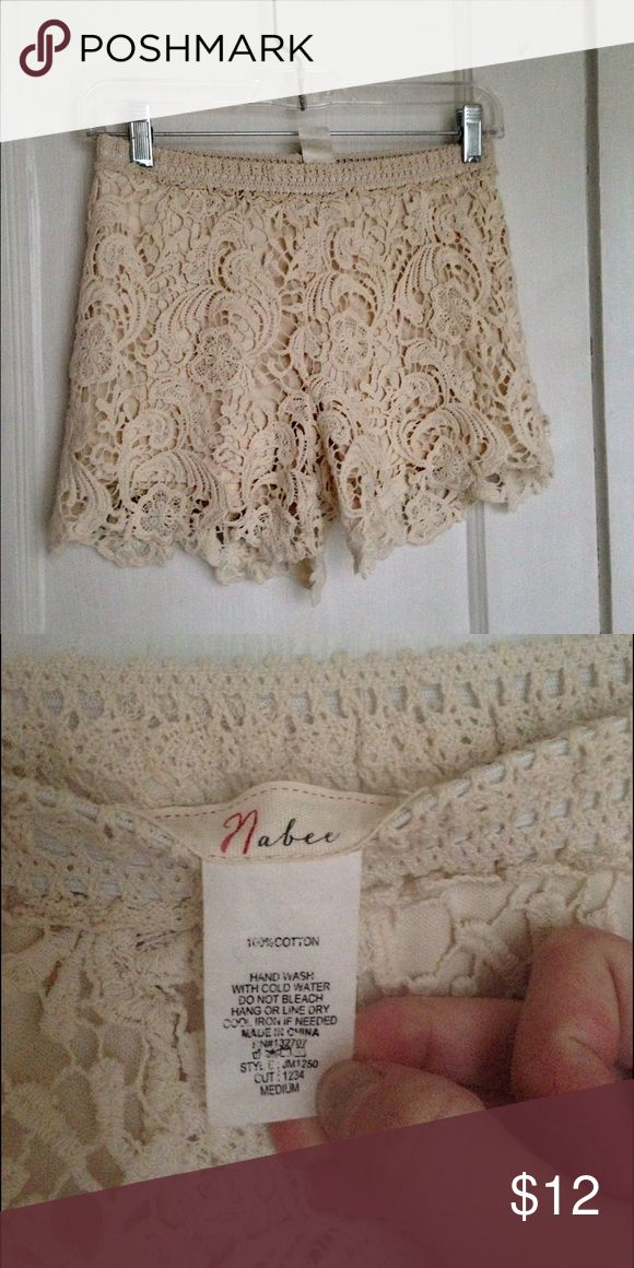 Cream Lace shorts Cream lace shorts, sized medium but run small. Brand Nabee Anthropologie Shorts