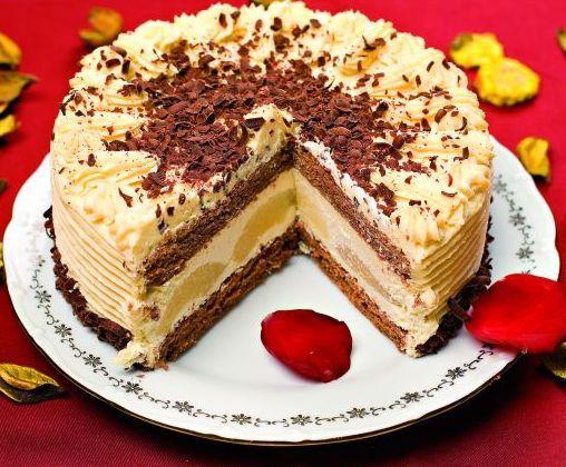 Čokoládová torta s hruškami