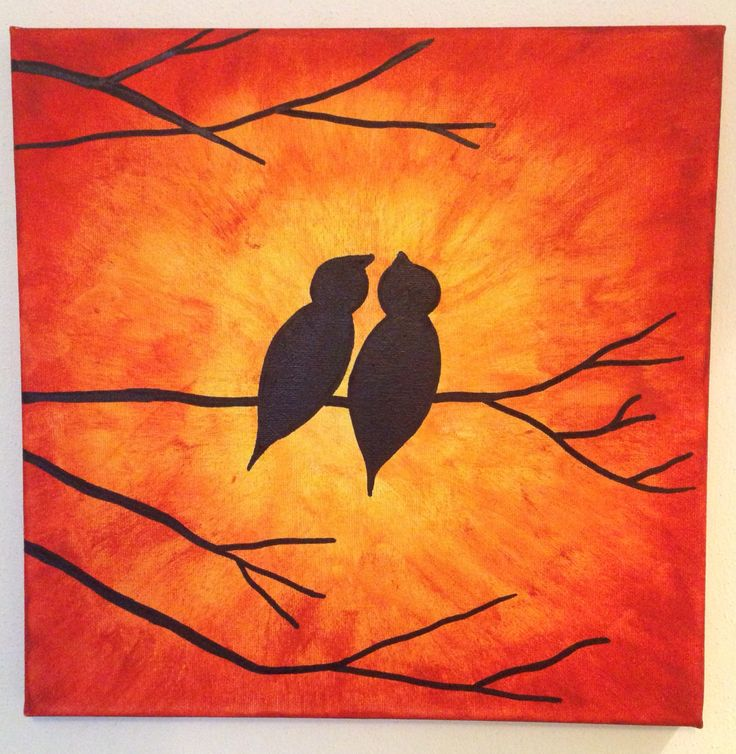 Self made canvas with birds