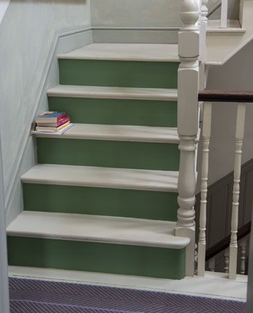 Possible solution for  the stairway.   //   Stairs in Caulke Green Floor Paint: farrow & Ball.  /  Painted floors can look beautiful by using a single colour to complement your scheme.