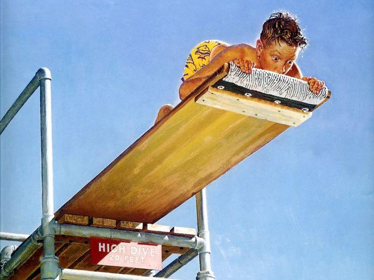 "Норман Роквелл. Советы по плаванию. Обложка журнала ""The Saturday Evening Post"" (16 августа 1947 года)"