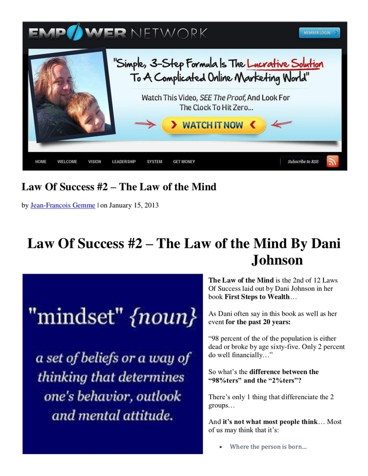 law-of-success-2-the-law-of-the-mind-by-dani-johnson by Jean-Francois Gemme via Slideshare