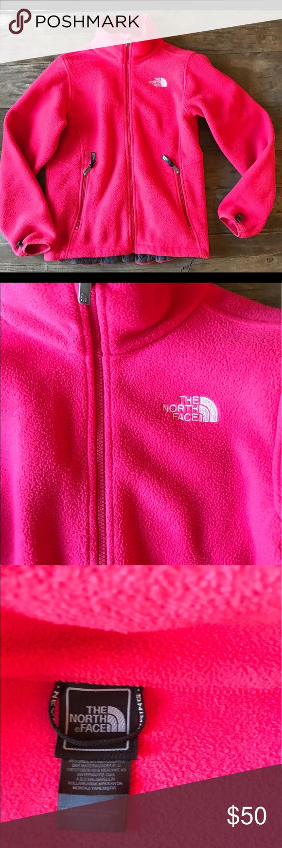 Women's North Face Zip Up Fleece Gently used hot pink women's North Face zip up fleece. Size Medium. Very soft. North Face Sweaters