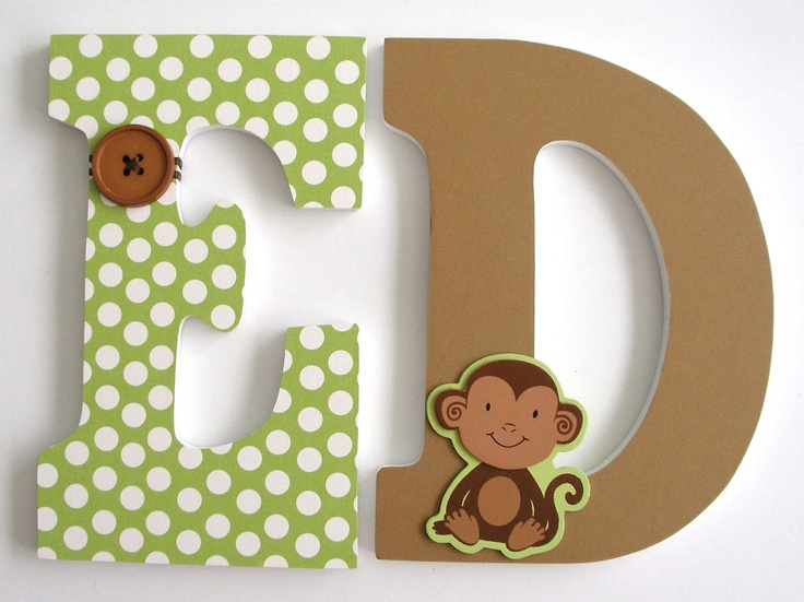 Custom Wooden Letters -MONKEY Theme- Nursery Bedroom Home